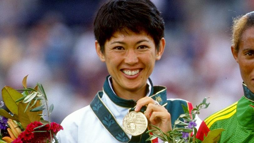 アトランタオリンピック女子マラソンで銅メダルを獲得した有森裕子