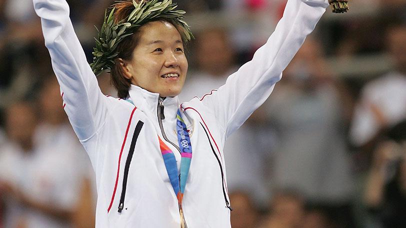 2004年アテネ五輪で金メダルを受賞した谷亮子Ⓒゲッティイメージズ