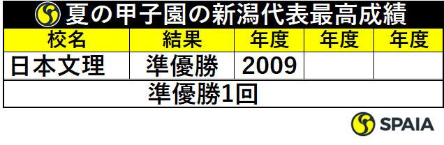 夏の甲子園の新潟代表最高成績