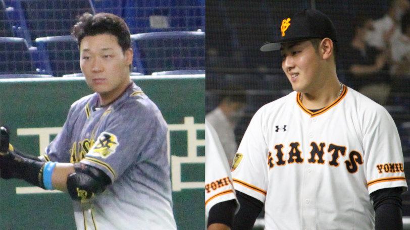 阪神・大山悠輔(左)と巨人・岡本和真ⒸSPAIA