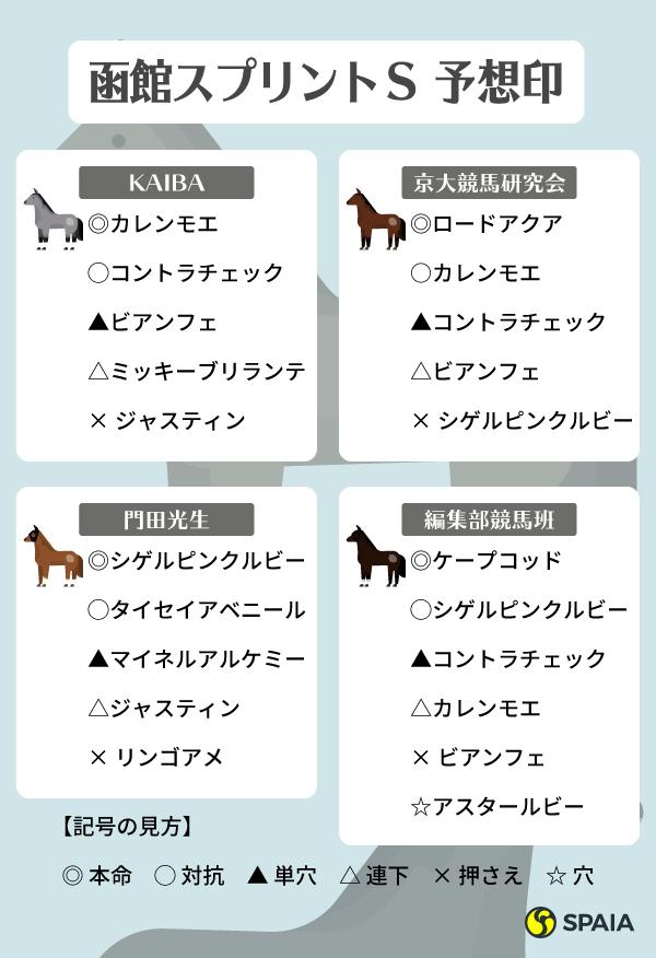 函館スプリントSの予想印,ⒸSPAIA,インフォグラフィック