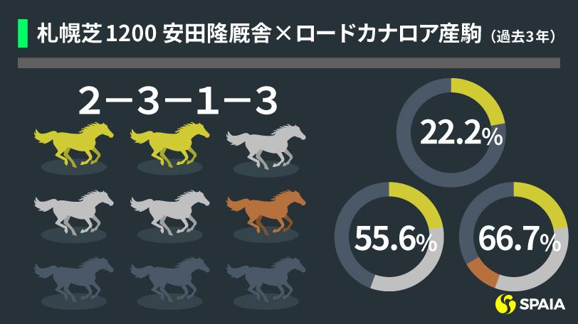 札幌芝1200m 安田隆行厩舎×ロードカナロア産駒の成績(過去3年)