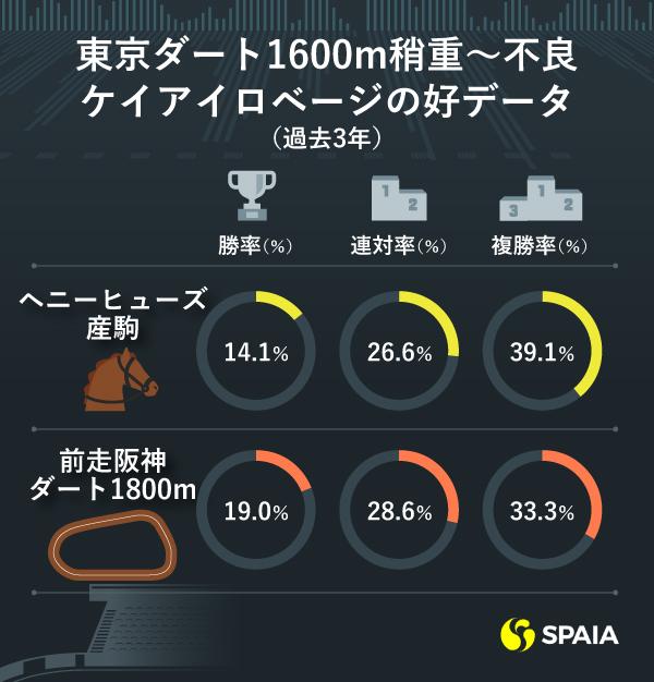 東京ダート1600m稍重〜不良 ケイアイロベージの好データ(過去3年)