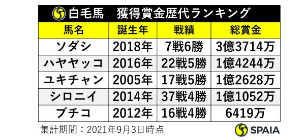 白毛馬獲得賞金歴代ランキング