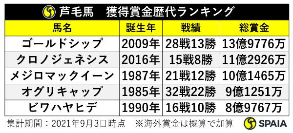芦毛馬獲得賞金歴代ランキング