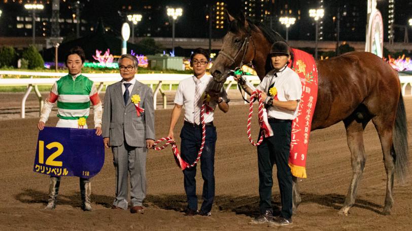 2019年のジャパンダートダービーを勝ったクリソベリル陣営Ⓒ三木俊幸