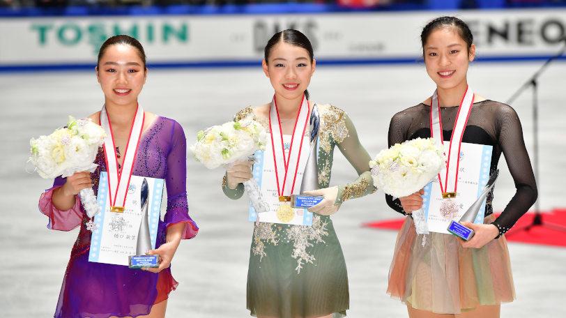 全日本選手権の(左から)樋口新葉、紀平梨花、川畑和愛Ⓒゲッティイメージズ