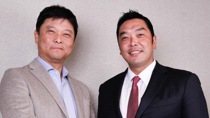 巨人の阿部慎之助二軍監督(右)と橋上秀樹氏Ⓒ佐々木和隆